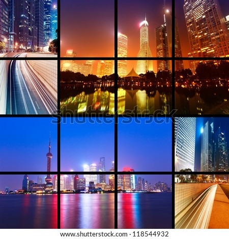 Megacity Highway at night with light trails in shanghai china. - stock photo