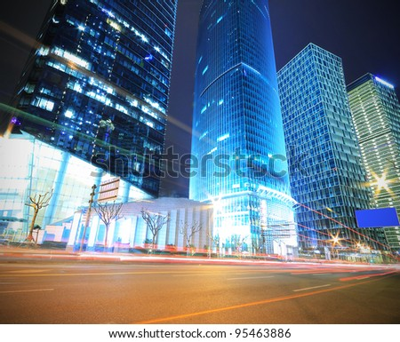 Megacity Highway at night with light trails in shanghai China - stock photo