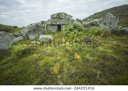 Megalithic court tomb in Co. Donegal, Ireland - stock photo