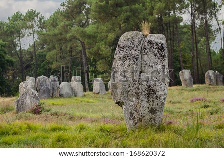 Megalithic monuments of the Stone Age in Carnac of France