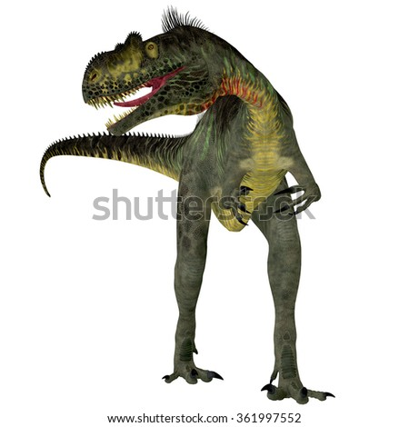 Megalosaurus on White - Megalosaurus was a large carnivorous theropod dinosaur that lived in the Jurassic Period of Europe. - stock photo
