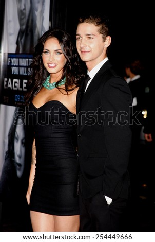 "Megan Fox and Shia LaBeouf at the Los Angeles Premiere of ""Eagle Eye"" held at the Grauman's Chinese Theater in Hollywood, California, United States on September 16, 2008.  - stock photo"