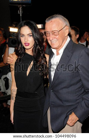 Megan Fox and Stan Lee  at the 'Jennifer's Body' Party Hosted by Myspace-IGN. Kin Lounge, San Diego, CA. 07-23-09 - stock photo