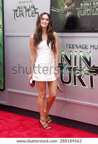 "Megan Fox at the Los Angeles premiere of ""Teenage Mutant Ninja Turtles"" held at the Regency Village Theatre in Los Angeles on August 3, 2014. - stock photo"