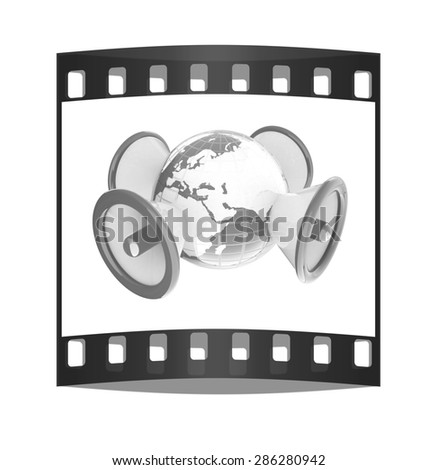 Megaphone and earth.Isolated on white background.3d rendered. The film strip