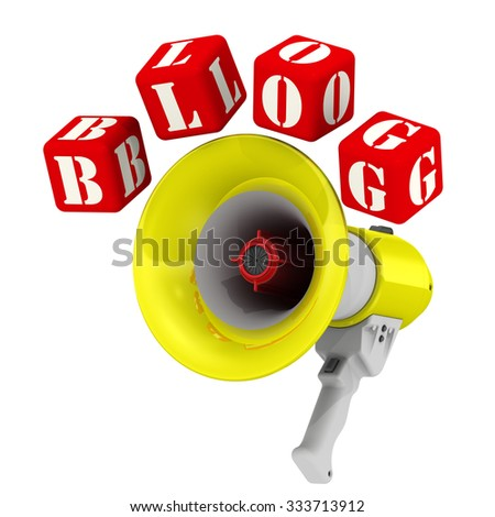 """Megaphone and the word BLOG. Three-dimensional illustration of a megaphone (electric horn) and the word """"BLOG"""" made from red cubes. Isolated - stock photo"""