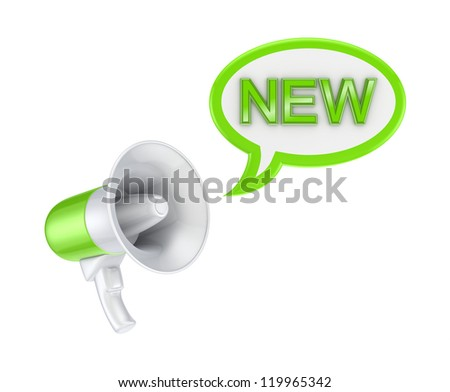 Megaphone and word NEW.Isolated on white background.3d rendered. - stock photo