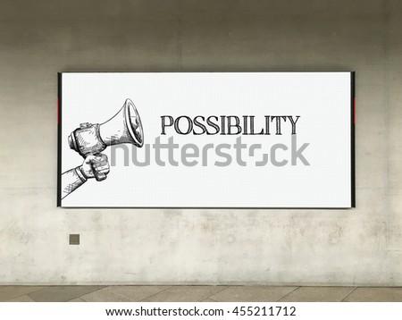 MEGAPHONE ANNOUNCEMENT POSSIBILITY ON BILLBOARD - stock photo