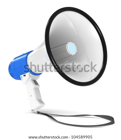 Megaphone. Blue and white Megaphone with Strap. Floor Shadow.
