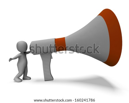 Megaphone Character Showing Announcing Speech Explaining And Loud Hailer