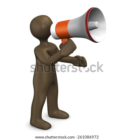 Megaphone. 3d illustration with black cartoon character
