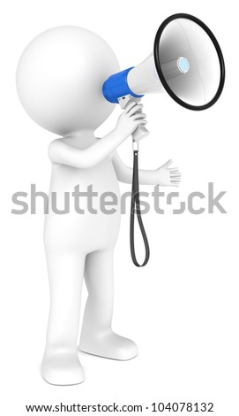 Megaphone. 3d little human character with a white and Blue Megaphone.  People series. - stock photo