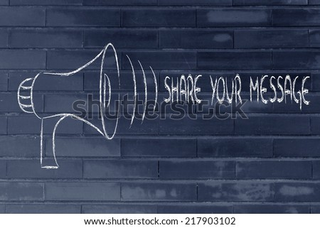 megaphone design, metaphor of sharing and spreading your message  - stock photo