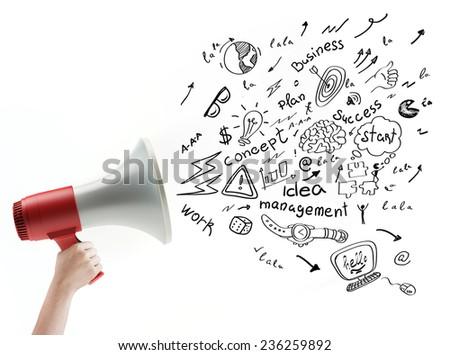 megaphone doodle concept - stock photo
