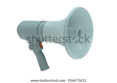 Megaphone handheld on white background - stock photo