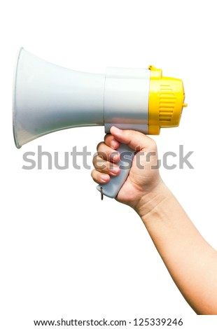 Megaphone in hand, isolated on white background. - stock photo