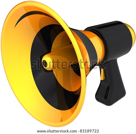 Megaphone news announcement communication symbol colored black yellow. Bullhorn loudspeaker message icon. Attention notify concept. Detailed 3D render. Isolated on white background