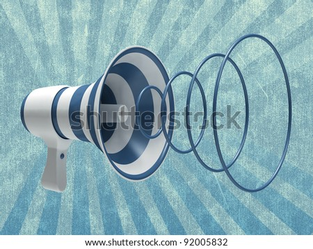 Megaphone on an abstract background - stock photo