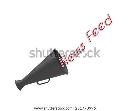 Megaphone on white background with pop-up caption 'News Feed'. Concept of news broadcasting and social media. - stock photo