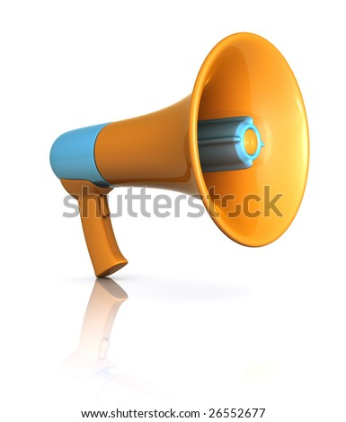 Megaphone standing on the white floor. Concept of communication.