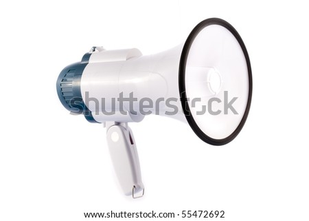 Megaphone with black rim on white background - stock photo