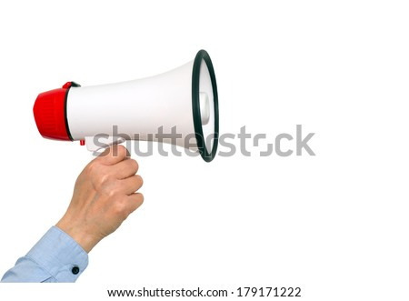 Megaphone with female hand on isolated white background - stock photo