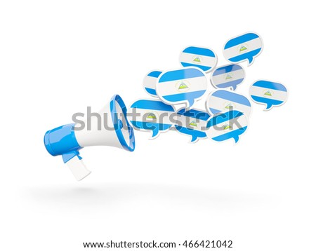 Megaphone with flag of nicaragua isolated on white. 3D illustration