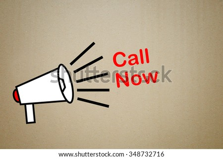 megaphone with text call now - stock photo