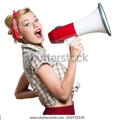 Megaphone, Women, Shouting. - stock photo
