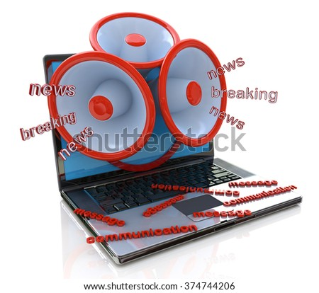 Megaphones coming out of laptop screen concept, online breaking news, media in the design of information related to communications - stock photo
