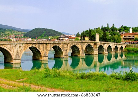 Mehmed Pasha Sokolovic bridge in Visegrad at Drina river - stock photo