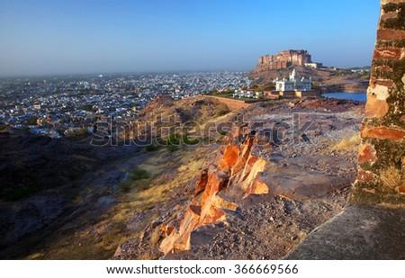 Mehrangarh Fort in Jodhpur, Rajasthan, India - stock photo