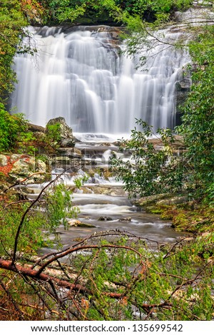 Meigs Falls flows in the beautiful landscape of Great Smoky Mountains National Park in Tennessee. - stock photo