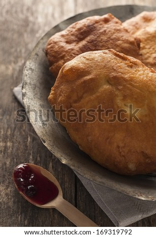 Mekitsa -traditional, bulgarian batter fried in deep oil - stock photo