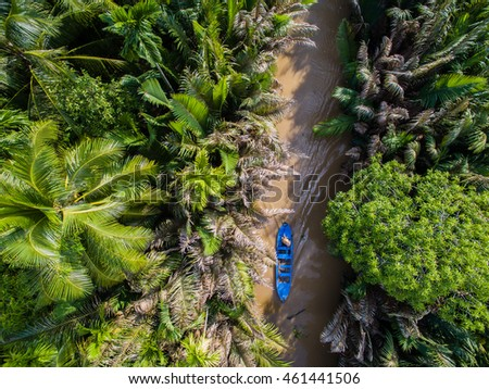 Mekong delta landscape from above