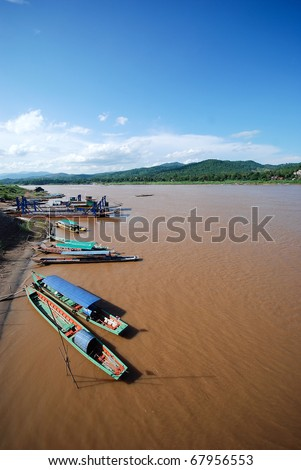 Mekong river, border crossing, checkpoint - stock photo