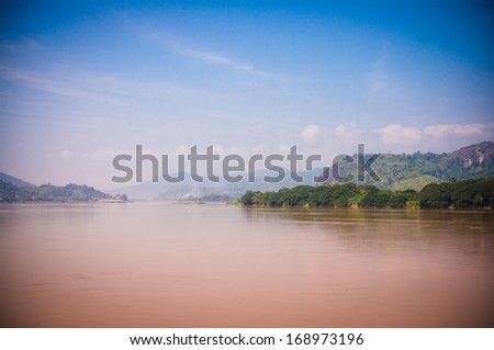 Mekong river on the border of Thailand and Laos - stock photo