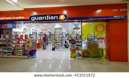 MELAKA, MALAYSIA - April 23, 2016. Guardian store inside Mahkota Parade Mall. Guardian is owned by Dairy Farm Int base in Hong Kong. Also called Mannings in China. - stock photo