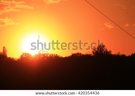 Melancholic bright  russian sunset