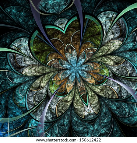 Melancholic fractal flower, digital artwork for creative graphic design - stock photo