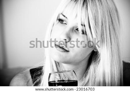 melancholic portrait in black and white - stock photo