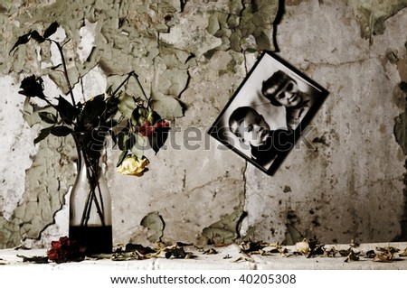 Melancholy and gloomy still life of the old abandoned house. - stock photo