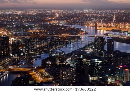 MELBOURNE - APR 14, 2014:Aerial view of Docklands Melbourne.Melbourne currently has over 4.25 million people and it's Australia's second largest city with a very diverse and multicultural population. - stock photo