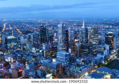 MELBOURNE - APR 14, 2014:Aerial view of Melbourne Victoria, Australia.Melbourne have population and employment growth with international investment in the city's industries and property market. - stock photo