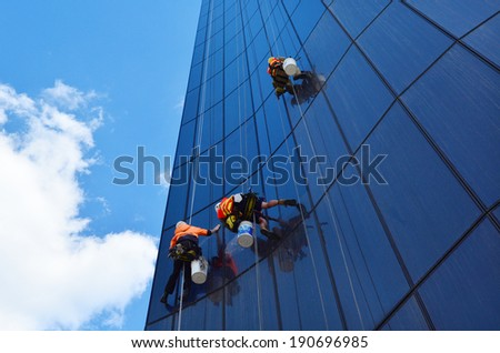Melbourne Apr 14 2014window Cleaners Works Stock Photo 190696985 ...