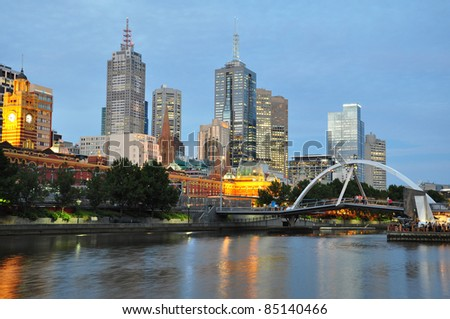 Melbourne at dusk - stock photo