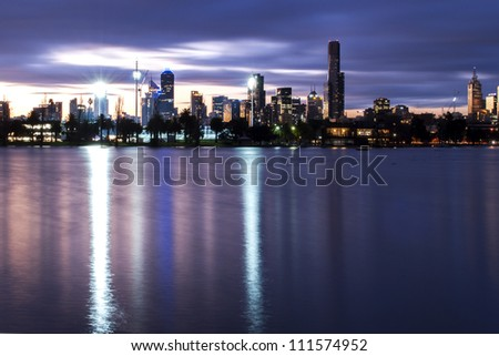 Melbourne at night from Albert park