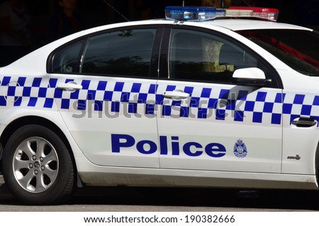 MELBOURNE, AUS - APR 14 2014:Victoria Police car.As of 2013, Victoria Police has over 12,539 sworn members across 325 police stations.It has a running cost of aprox. 2.1b $AUD (A$372 per resident). - stock photo