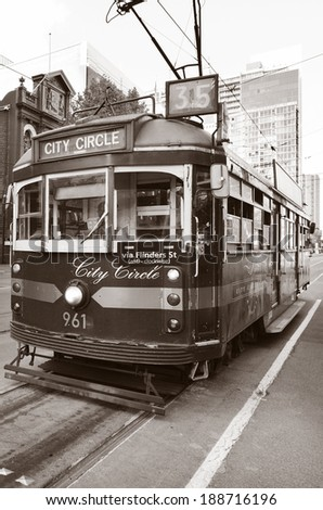 MELBOURNE, AUS - APR 14 2014: W class tram in City Circle service.It's a zero-fare tram  aimed mainly for tourists running around the central business district of Melbourne, Australia.