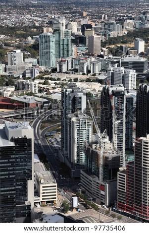 Melbourne, Australia. Aerial view of skyscraper city. Central business district (CBD). - stock photo